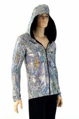 Mens Silver Long Sleeve Hoodie - Coquetry Clothing