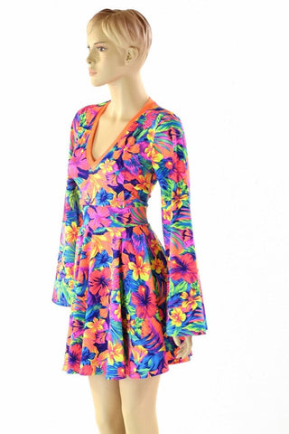Tahitian Floral V Neck Skater Dress - Coquetry Clothing