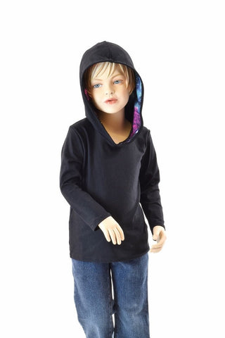 Childrens Black Soft Knit Galaxy Hoodie - Coquetry Clothing