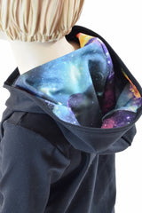 Childrens Black Soft Knit Galaxy Hoodie