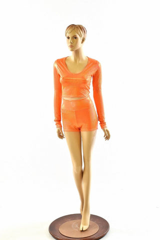 Orange Holographic Crop & Shorts Set - Coquetry Clothing