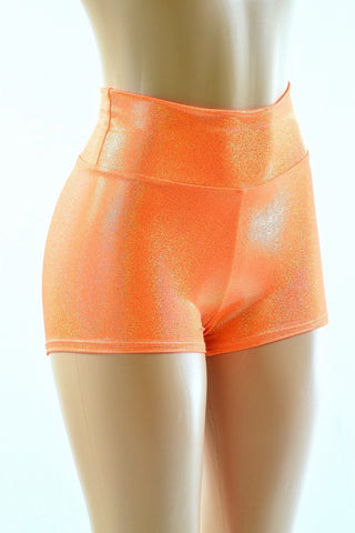 Orange Holographic High Waist Shorts - Coquetry Clothing