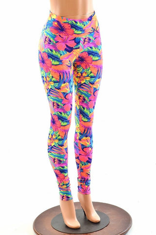 Tahitian Floral High Waist Leggings - Coquetry Clothing