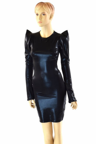 Black Metallic Sharp Shoulder Dress - Coquetry Clothing