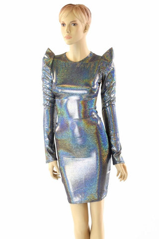 Silver Sharp Shoulder Dress - Coquetry Clothing