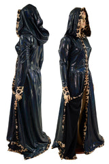 Open Front Breakaway Snap Gown with Reaper Hood and Leopard Trim - Coquetry Clothing