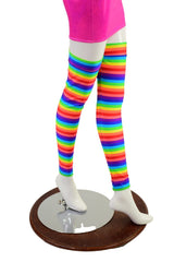 Thigh High Leg Warmers in Horizontal Rainbow Stripe - Coquetry Clothing