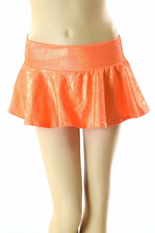 Orange Holographic Rave Skirt