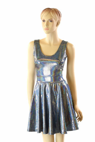 Silver Holographic Tank Dress - Coquetry Clothing