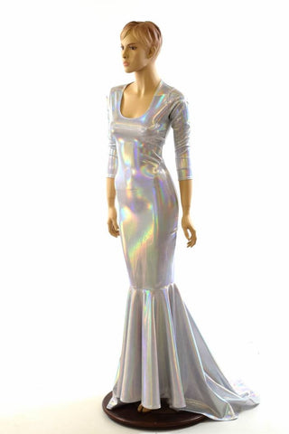 Flashbulb Holographic Puddle Train Gown - Coquetry Clothing