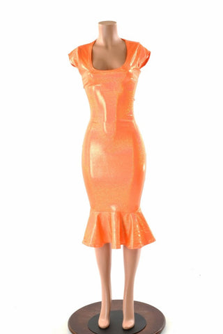 Orange Sparkly Jewel Ruffled Wiggle Dress - Coquetry Clothing