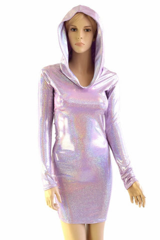 Lilac Long Sleeve Hoodie Dress - Coquetry Clothing