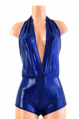 """Josie"" Romper in Royal Blue Sparkly Jewel Holographic - Coquetry Clothing"