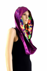 Fuchsia & Acid Splash Reversible Infinity Festival Hood - Coquetry Clothing