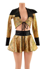 Tie Front Showtime Crop Jacket and Flip Skirt Set - Coquetry Clothing