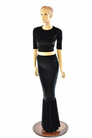 Black Velvet Mermaid Skirt & Top