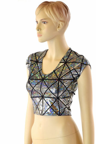Cracked Tiles Cap Sleeve Crop Top - Coquetry Clothing