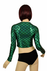Green Dragon Crew Neck Crop Top - Coquetry Clothing