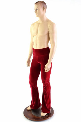 Mens Red Velvet Bootcut Pants - Coquetry Clothing