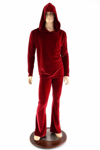 """Santa in the Hood"" Mens Red Velvet Shirt and Pants Set - Coquetry Clothing"