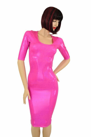 Pink Sparkly Half Sleeve Wiggle Dress - Coquetry Clothing
