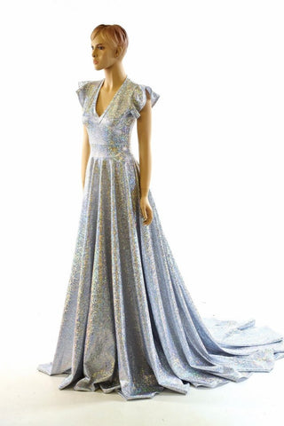 Holographic Silvery White A-Line Gown - Coquetry Clothing