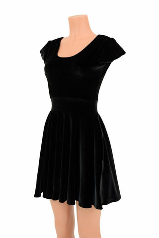 Black Velvet Skater Dress - Coquetry Clothing