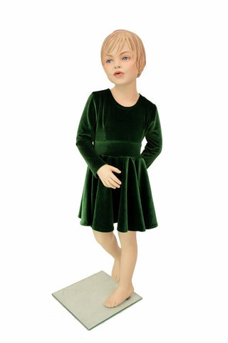 Girls Green Velvet Skater Dress - Coquetry Clothing