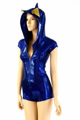 Blue Hedgehog Zipper Front Romper - Coquetry Clothing