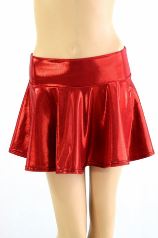 Red Metallic Mini Rave Skirt - Coquetry Clothing