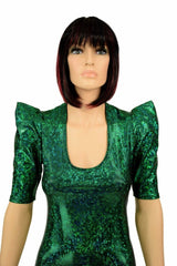 Green Holographic Sharp Shoulder Catsuit - Coquetry Clothing