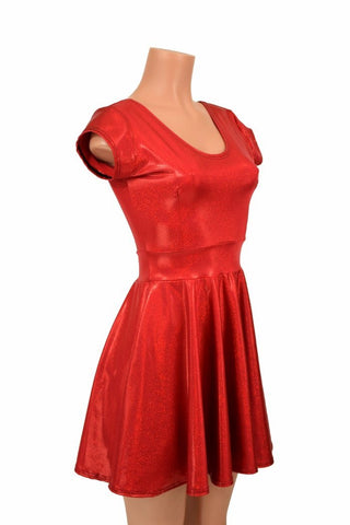 590eaf6b ... Red Sparkly Jewel Cap Sleeve Skater Dress - Coquetry Clothing ...
