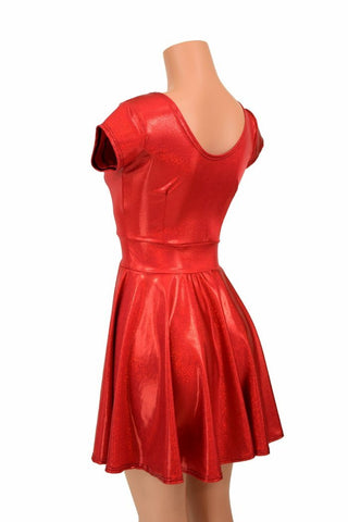 c93b56af ... Red Sparkly Jewel Cap Sleeve Skater Dress - Coquetry Clothing
