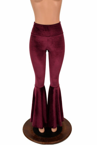 High Waist Burgundy Velvet Bell Bottoms - Coquetry Clothing
