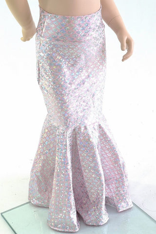 Girls Silver on Pink Round Scale Mermaid Skirt