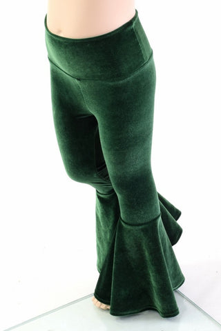 Kids Green Velvet Flare Pants - Coquetry Clothing