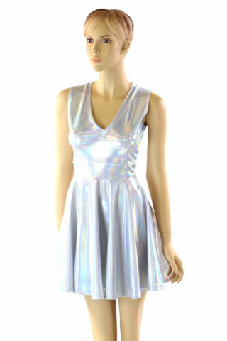 Holographic V Neck Skater Dress - Coquetry Clothing
