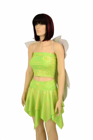 Lime Tube Top & Skirt Set + Fairy Wings - Coquetry Clothing