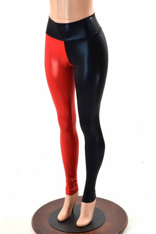 Harlequin Red & Black High Waist Leggings - Coquetry Clothing