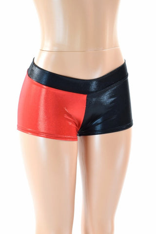 Harlequin Red & Black Low Rise Shorts - Coquetry Clothing