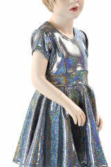Girls Silver Holographic Party Dress - Coquetry Clothing
