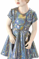 Girls Silver Holographic Party Dress