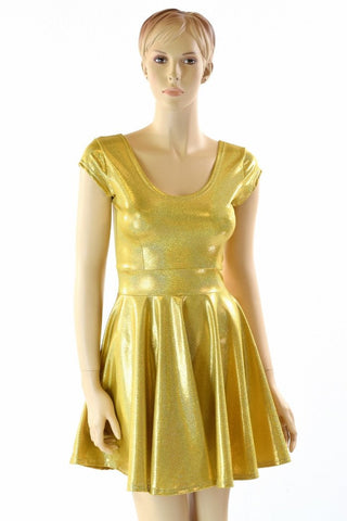 Gold Sparkly Jewel Skater Dress - Coquetry Clothing