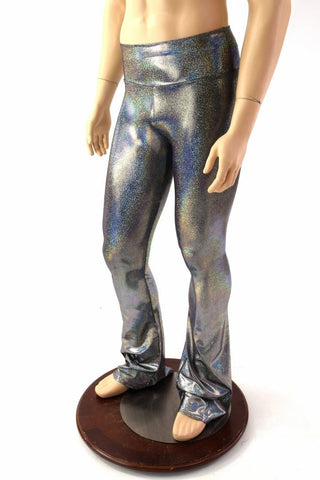 d9301dee61e1a Mens Silver Holographic Bootcut Leggings - Coquetry Clothing