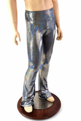 Mens Silver Holographic Bootcut Leggings - Coquetry Clothing