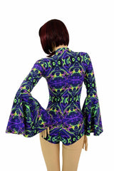Neon Melt Gypsy Sleeve Romper - Coquetry Clothing