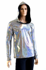 Mens Long Sleeve Silver Hoodie - Coquetry Clothing