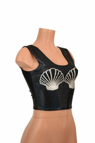 Black Seashell Crop Top - Coquetry Clothing
