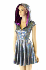 Silver & Fuchsia Zippered Skater Dress - Coquetry Clothing