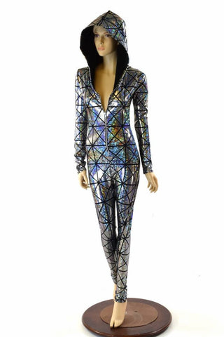 Cracked Tiles Zipper Catsuit - Coquetry Clothing